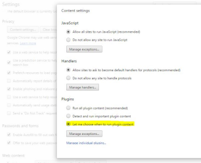 chrome browser settings