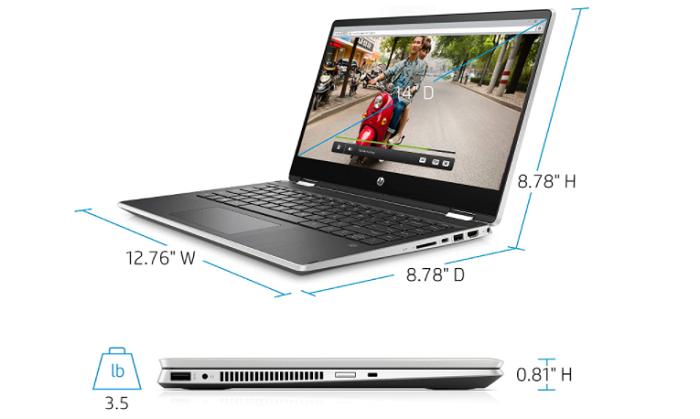 HP X360 14 dimensions - best laptop under 700